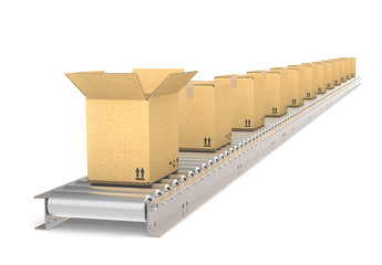 Conveyor Belt of steel with boxes. Front box open.