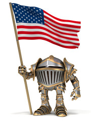 Knight with USA flag