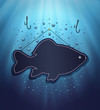 raster blackboard fish water blue background drops