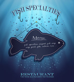 vector blackboard fish menu restaurant water blue drops sea