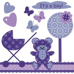 set with scrapbook object for newborn boy