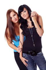 Zwei Frauen in blauen T-Shirt III.