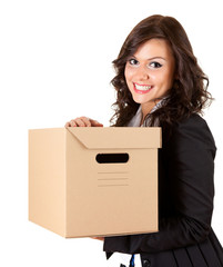 smiling businesswoman keeping cardboard box