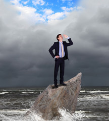 Businessman and weather