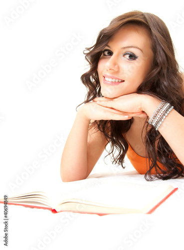 happy student young woman with book looking at camera