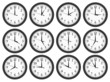 Wall clocks set on white background.