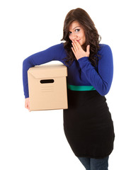 shame girl with cardboard box, white background