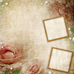 Two frames on Grunge beige background with roses