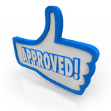 Approved Blue Thumb's Up Symbol Like Agreed Accepted