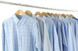 Men's Shirts on hangers on white