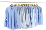 Fototapety clothes hanger with blue shirt