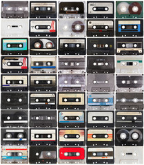 collection of retro audio tapes