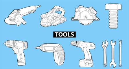 tools on blue