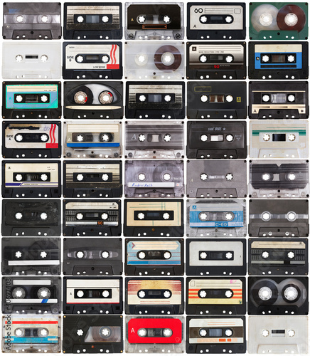 Wall mural collection of retro audio tapes