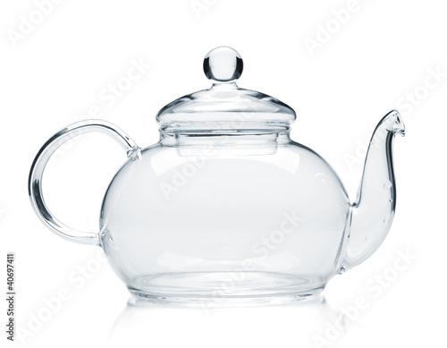 Empty glass teapot - 40697411