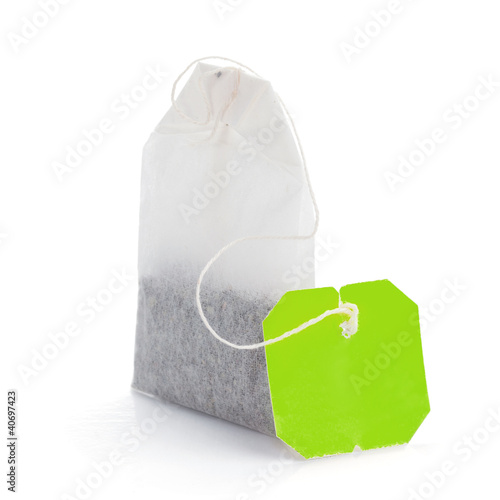 Teabag with green label