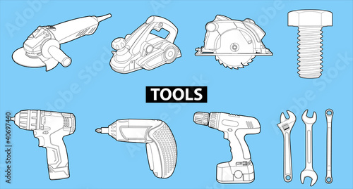 tools on blue