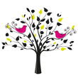 tree with a pair of birds on a white background