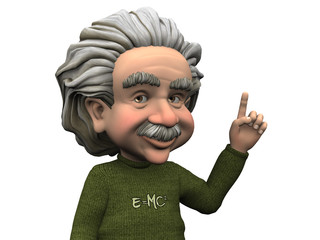 Cartoon Albert Einstein having an idea.
