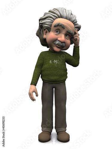 poster of Cartoon Albert Einstein thinking.