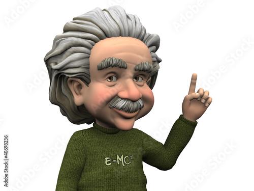 poster of Cartoon Albert Einstein having an idea.