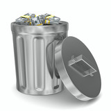 Garbage basket with dollars on white background. Isolated 3D ima