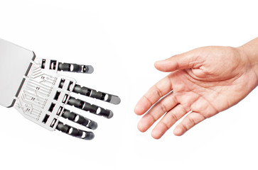 Robot and man handshake