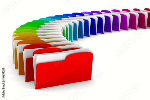 multicolor computer folder on white background. Isolated 3d imag
