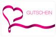 Gutschein Herzschleifenband pink
