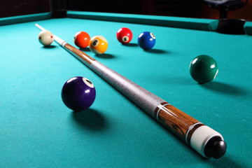 Billiard table with balls. Close-up.