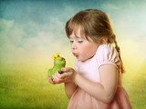 Little girl with a frog prince