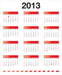 Calendrier rouge 2013 FR