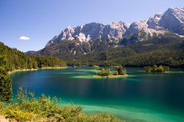 Insel klein See Eibsee Bergsee Traum Idylle blau