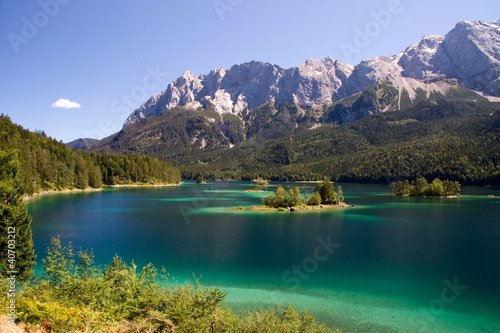 canvas print picture Insel klein See Eibsee Bergsee Traum Idylle blau