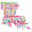 word cloud map of Louisiana state