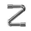 3d Silver Pipe Letter Z