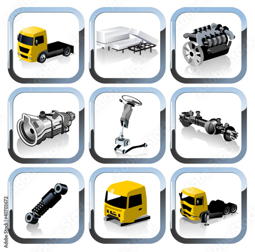 truck spares icons set