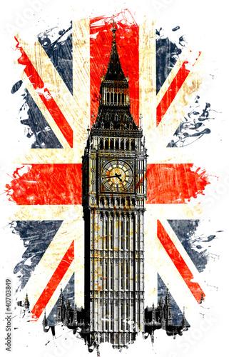 Fototapeta samoprzylepna drapeau anglais big ben vertical