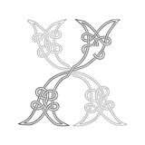 A Celtic Knot-work Capital Letter X Stylized Outline