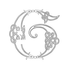 A Celtic Knot-work Capital Letter G Stylized Outline