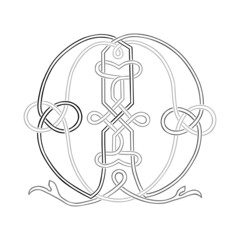 A Celtic Knot-work Capital Letter M Stylized Outline