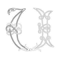 A Celtic Knot-work Capital Letter U Stylized Outline