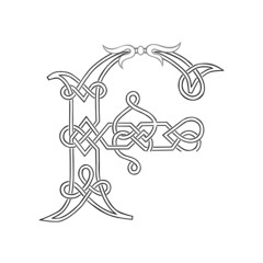 A Celtic Knot-work Capital Letter F Stylized Outline