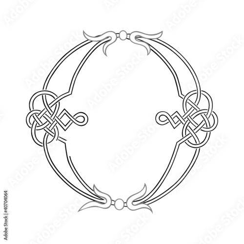 A Celtic Knot-work Capital Letter O Stylized Outline