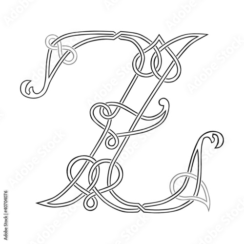 A Celtic Knot-work Capital Letter Z Stylized Outline