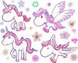 Unicorn and Pegasus Vector Set