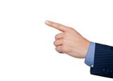 finger indicates isolated on white background