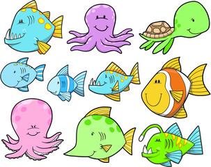 Ocean Sea Creatures and Fish Set