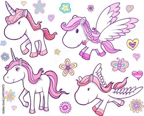 fototapeta na ścianę Unicorn i Pegasus Wektor Zestaw