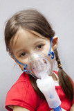 little girl with nebulizer poster